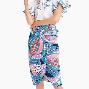 J Crew Tie-back tulip skirt in kaleidoscope floral